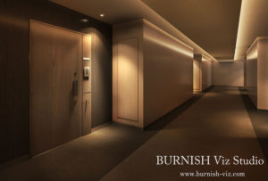 内廊下 建築CGパース | BURNISH Viz Studio