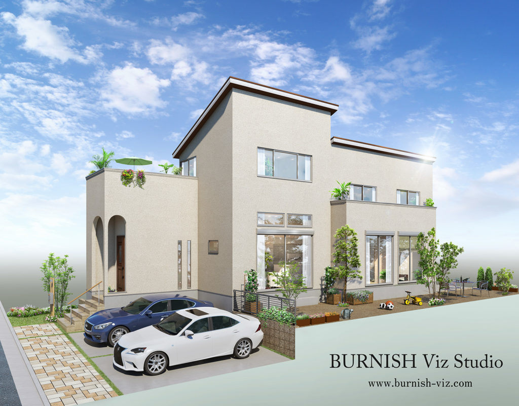 戸建て建築CGパース | BURNISH Viz Studio