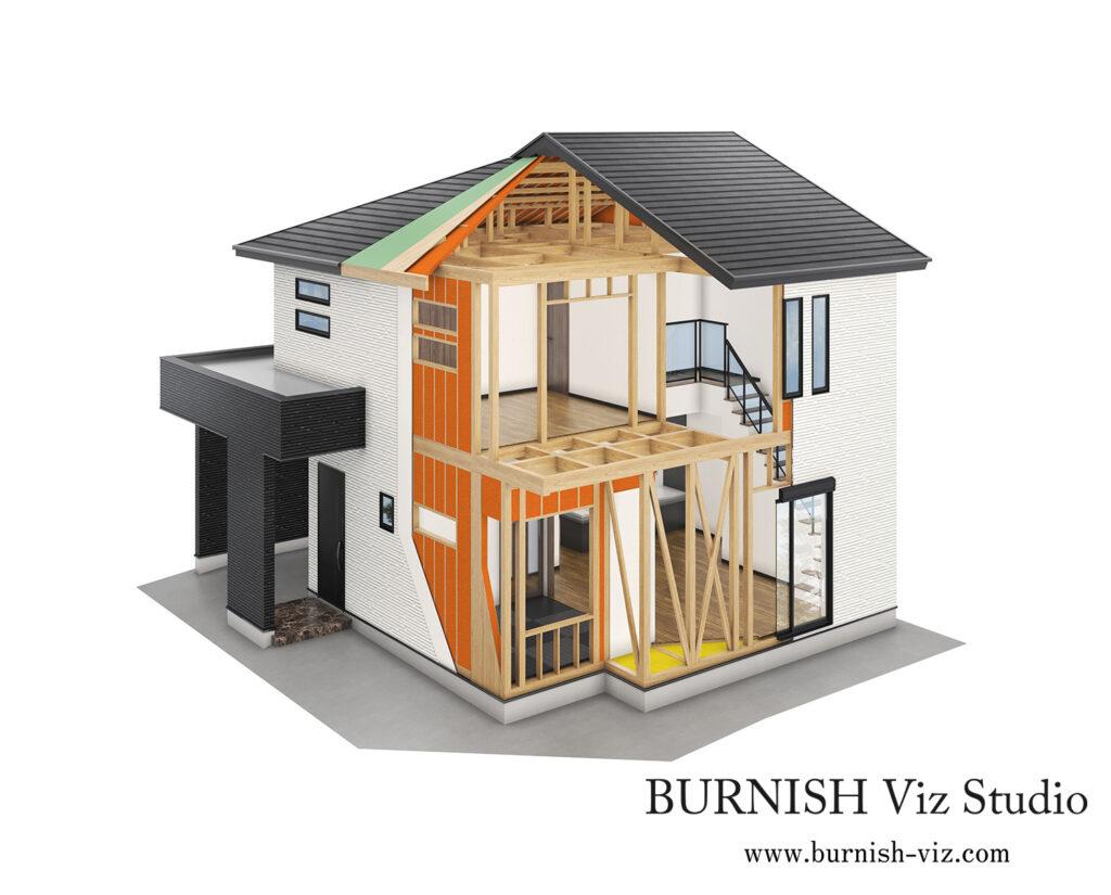 住宅 構造 CGパース