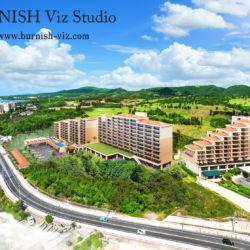 空撮合成建築CGパース | BURNISH Viz Studio